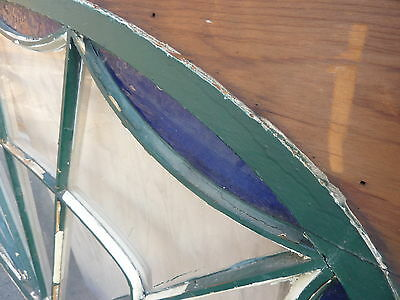"""HUGE gable END stain GLASS arched WINDOW oak FRAME spiderweb design 63 x 43"""" 10"""