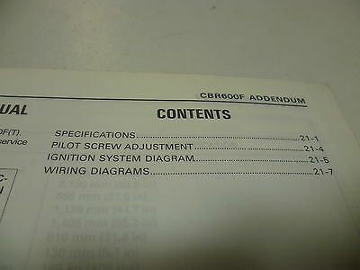 Genuine Honda Cbr600f T Cbr600ft Workshop Addendum Manual