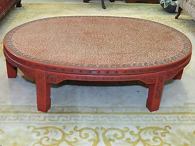 ANTIQUE LATE 19 c. CHINESE LACQUER INTRICATE CARVED CINNABAR COFFEE TABLE 7