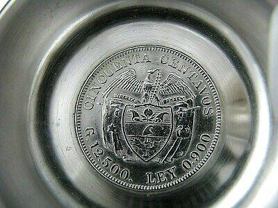 Colombian Coin Silver Ashtray 1912 50 Centavos 1942 10 Centavos 900 Silver Coins 7