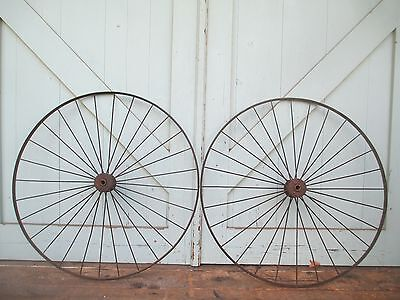 """Antique 28"""" pair IRON WHEELS industrial - steampunk SALVAGED modern design PARTS 3"""