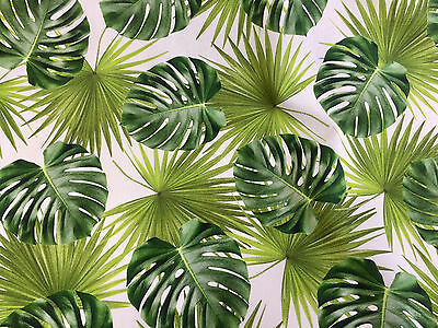 Green Palm Leaves Cotton Fabric For Curtain Upholstery