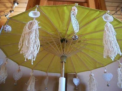 Deko Schirm Bali Tischdeko Raumdeko Echte Muscheln Bambus