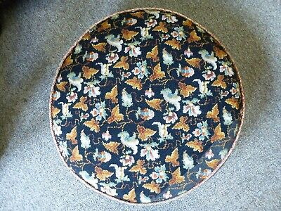 Vintage Elizabeth Bradley Persian embroidery tapestry footstool wood feet 3