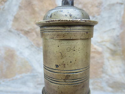 Primitive Antique Ottoman Brass-Carved TUGRA Marked Hand Coffee Grinder 19th #01 5