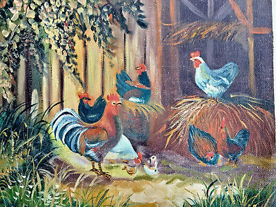 Unframed Canvas Oil Painting Set Of Two Rooster Farm Barnyard Green Brown Gold 2