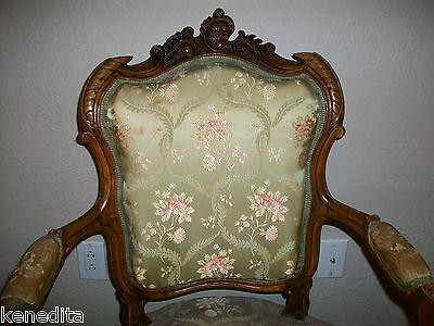 1900 Pair Antique French 2 Chairs Victorian Regency Parlor Fauteuil Louis XVII 11