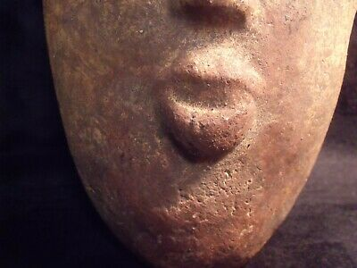 "Antique Pre-Columbian 9 1/4"" Pottery Face Mask 2"
