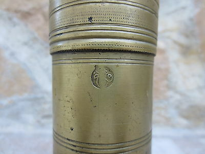Primitive Antique Ottoman Brass-Carved TUGRA Marked Hand Coffee Grinder 19th #02 3