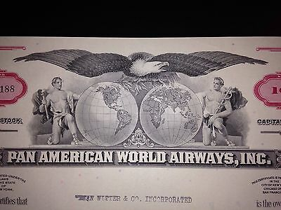 Pan American Airlines (Pan Am) stock certificate original aviation collectible 2
