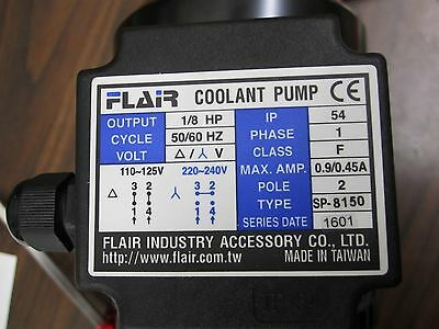 SP-8180 Filterable Coolant Pump 1/8HP 180mm Single Phase 1PH 110/220V