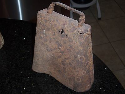 Antique Cow Bell - Large Size - 7 1/2 inches in height - Forged and Riveted 2