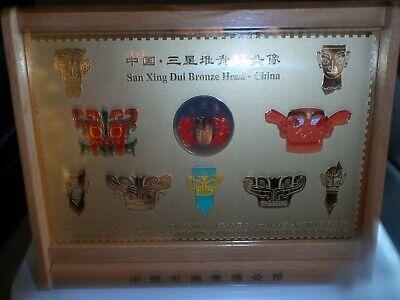 Rare  San Xing Dui China Bronze Heads Boxed 12