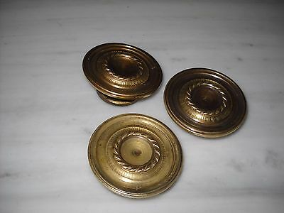 A lot of 3 Greece Vintage rare Solid Brass Door Knobs Handles 4