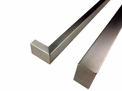 2 X ENTRANCE DOOR HANDLE PULL SET STAINLESS STEEL 800mm LONG SATIN FINISH SQUARE 3