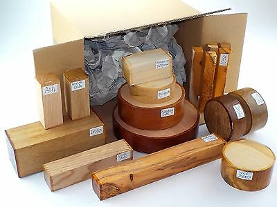 Wood turning blanks gift selection pack Box of mixed sizes and species 60