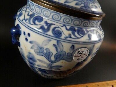 Chinese Blue White Porcelain Covered Jar Metal Clad Rim Shishi Finial Ex Skinner 2
