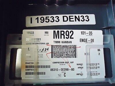 Toyota Highlander New Oem Ac Compressor Part Number: 88310-0E090-00