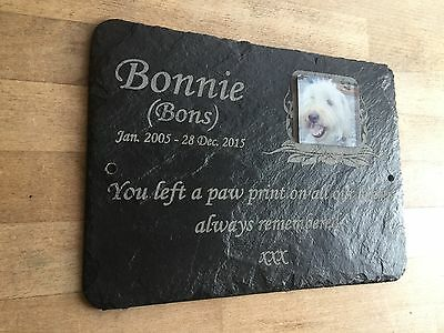 Pet Photo Memorial Slate Plaque  Personalised for your loved pet including photo 7