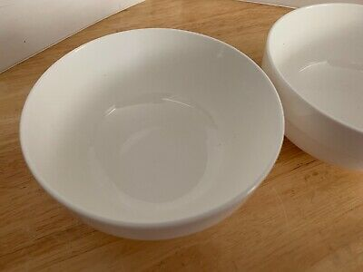 "Lot of 2 Unbranded 5"" Soup Cereal Bowl 2.5"" Tall Contemporary White Ceramic EUC 2"