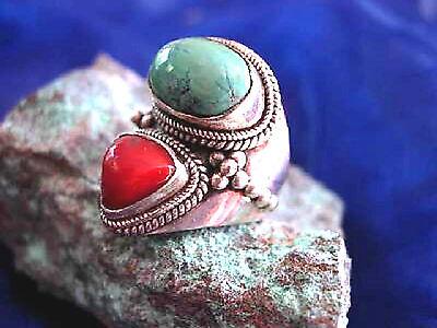 Silberring 56 breit Türkis Koralle Antik Handarbeit Ring Silber Indianer Floral 2