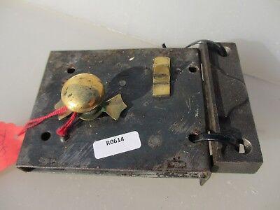 Victorian Iron Door Lock Antique Brass Bolt Handle Knob Old Bathroom? Georgian 2