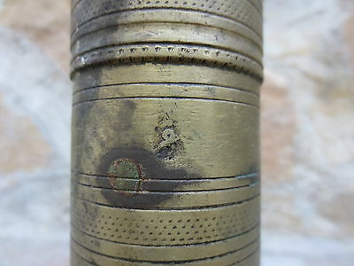 Primitive Antique Ottoman Brass-Carved TUGRA Marked Hand Coffee Grinder 19th #03 4