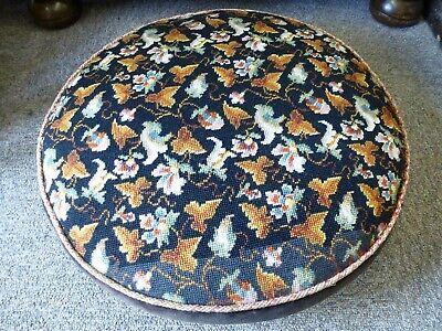 Vintage Elizabeth Bradley Persian embroidery tapestry footstool wood feet 2