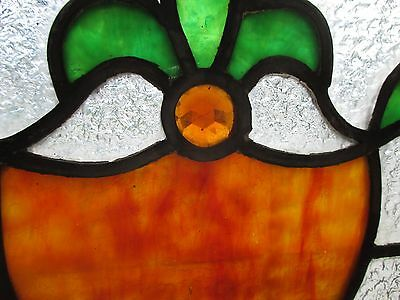 ~ ANTIQUE AMERICAN STAINED GLASS TRANSOM WINDOW 32 x 23.25 ARCHITECTURAL SALVAGE 5