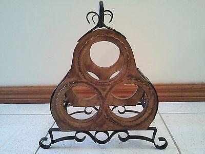 Carved Wooden And Metal Wine Bottle Holder Rack 5
