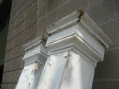 "c1870-80 VICTORIAN square porch POST pier set W CORBELS & fretwork 74"" & 90"" h"