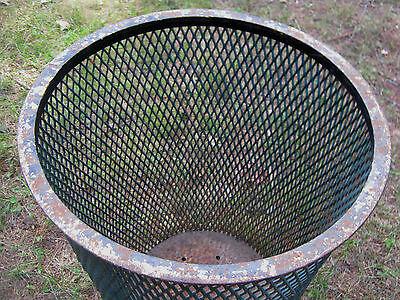 Antique Industrial City Park Steel Mesh Cast Iron Trash Can Waste Basket Hamper 3