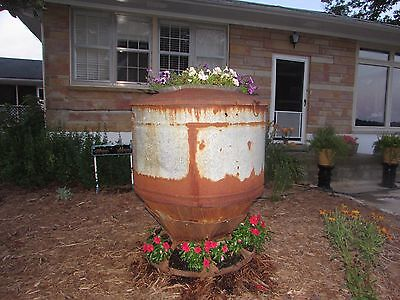 Antique Hog Feeder Flower Tower Planter Yard Art Upcycle Recycle  #2462 2