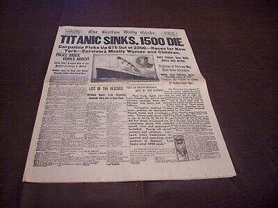 TITANIC NEWSPAPER 1912 Boston Globe/Marsh Murder Story/Ty Cobb Quits Team  !!!!! 6