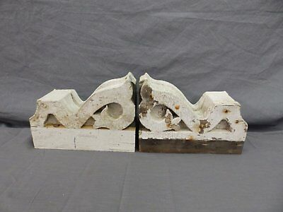 Antique Pair Wood Small Corbel Victorian Architectural Shabby Vtg Chic 506-17P 2