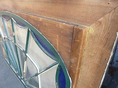 "HUGE gable END stain GLASS arched WINDOW oak FRAME spiderweb design 63 x 43"" 11"