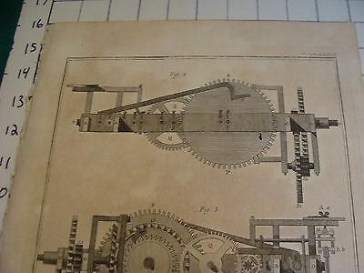 """Original engraving 1760's 10 1/2 x 16"""" Profils du mouvement de l'horloge horizon 2"""