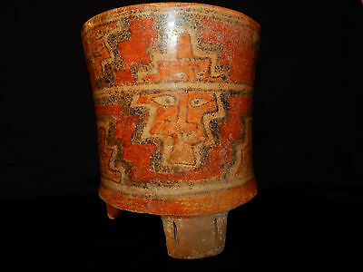 Pre-Columbian Polychrome Three-Footed Mayan Ceramic Pot, Authentic, Rare