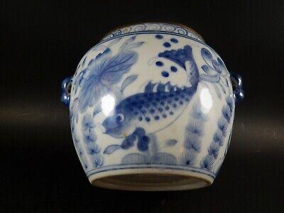 Chinese Blue White Porcelain Covered Jar Metal Clad Rim Shishi Finial Ex Skinner 9