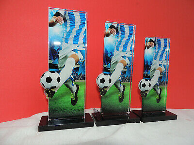 3er Serie Acryl Pokale Fußball Blau/weiß  Pokal inkl.Gravur 2019 APLA 3