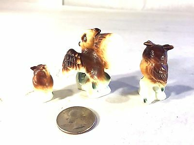 5 Piece 4 Owls//1Harp Miniature Porcelain Owl Musical Band Figurines