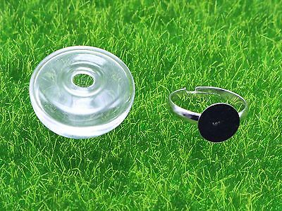 DIY Silver Adjustable Ring with 25mm 28mm Clear Glass Terrarium 1/2 Globe Bottle 3