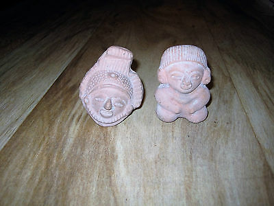 Pair Pre-Columbian Mayan Figures Terracotta Whistles Male Figure & Female Head