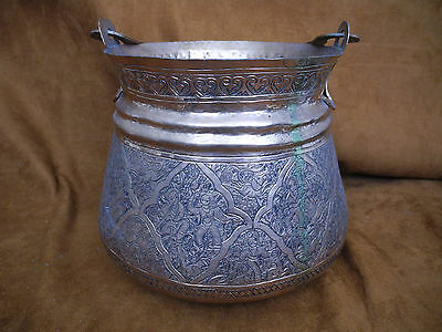 Antique Islamic Arabic Persian Copper Pail or Handled Pot with intricate work 3
