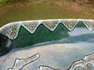Vintage Hand Made Bermuda Pottery Two Tone Green Drip Glaze Bowl Dish Relief