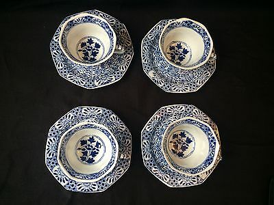 4 19C Chinese Porcelain Cup & Saucer Blue White 'Flowers' Antique Kangxi Marked 2