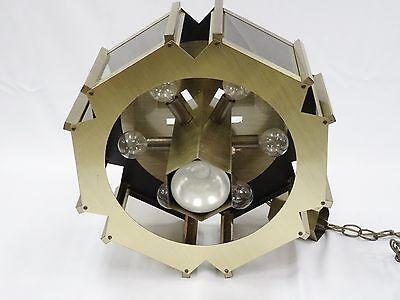 VINTAGE 70's MODERNIST FREDERICK RAMOND BRASS HEXAGONAL LIGHT CHANDELIER 3