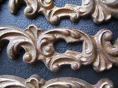 6 Antique Drawer Pulls-8 Drawer Plates Ornate Dresser Key plates Knobs- Vintage 4