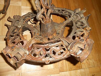 Antique Hanging ART DECO GOTHIC DRAGON GARGOYLE GILL SLIP SHADE LIGHT FIXTURE 3