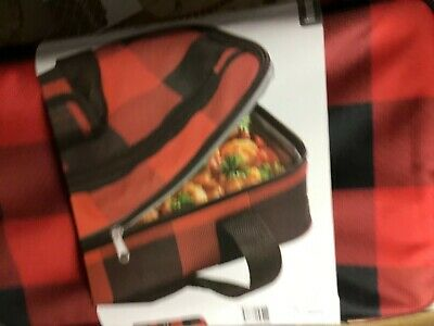 Home Essentials  Insulated Carrying Tote Buffalo Plaid Red 9.75 X 15 .5 X 3  Nwt 2